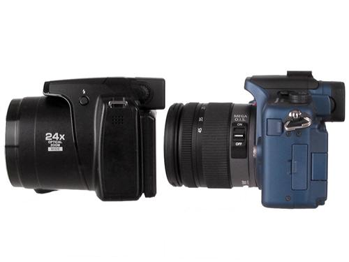 balra: nagy zoomátfogású kompakt; jobbra MILC gép, kitobjektívvel